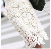 Free Shipping Summer Women Full crochet cutout  pencil lace skirt,Slim Elastic Waist Over-the-knee skirt Big size, black white