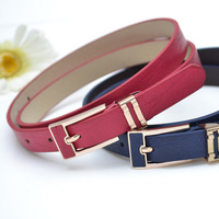 Free Shipping 2014 Newest Belt Solid Color PU Leather women belt free size metal buckle Belt Fashion Striped women belts WB004