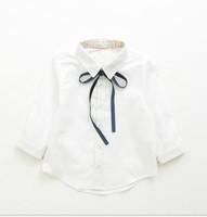 free shipping new fashion cute children girls black tie crimp slim white shirt,baby girls school uniform clothes 2-8years