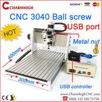 Ball screw USB port CNC3040 CNC router, 240w spindle motor CNC 3040 3040B CNC machine, engraving drilling/ milling machine