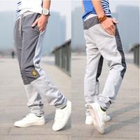 Spring men's clothing fashion casual pants applique patchwork male sports pants