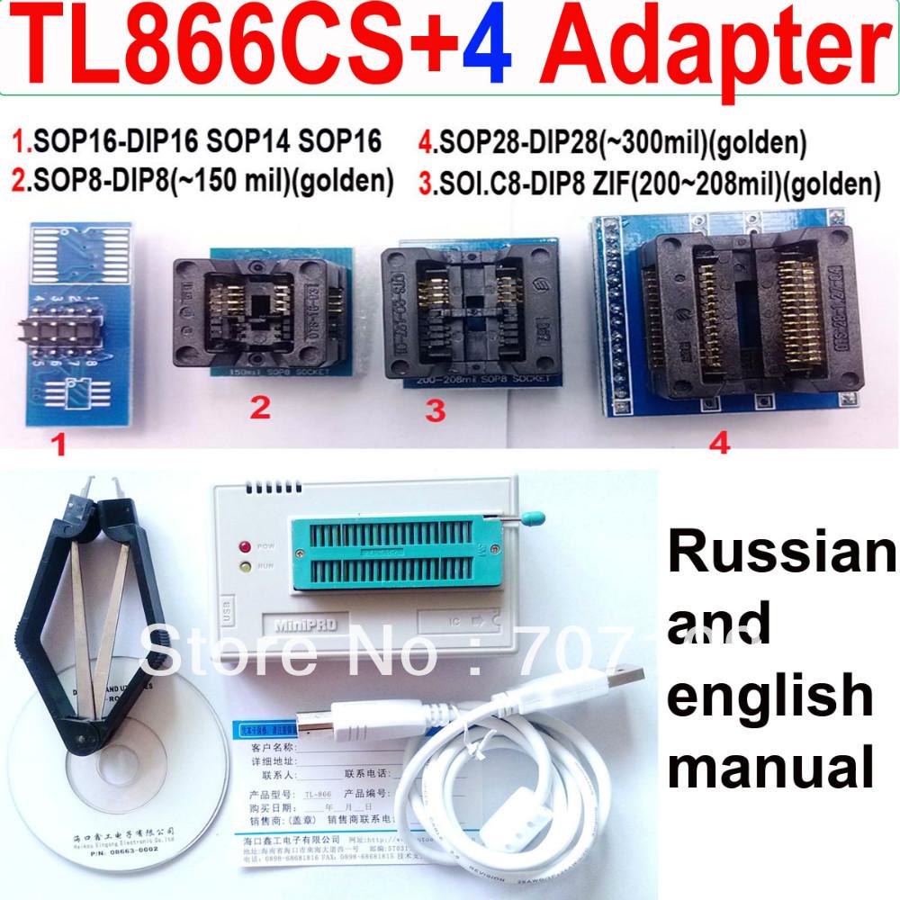 Russian English manual TL866cs programmer + SOP8/ SOP28 /TSSOP8/SOP16 4 adapters TL866 PLCC AVR PIC Bios Programmer(China (Mainland))