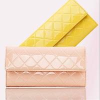2014 Newest Plaid Women's Embossed Genuine Leather Wallet Long Design Female Purse 6Colors Hasp Handbag Pink Yellow Black Rose