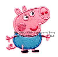 George pig iron on patches Peppa pig brothers Cartoon Kids  patches embroidered patch beaded applique  wholesale 100pcs/lot