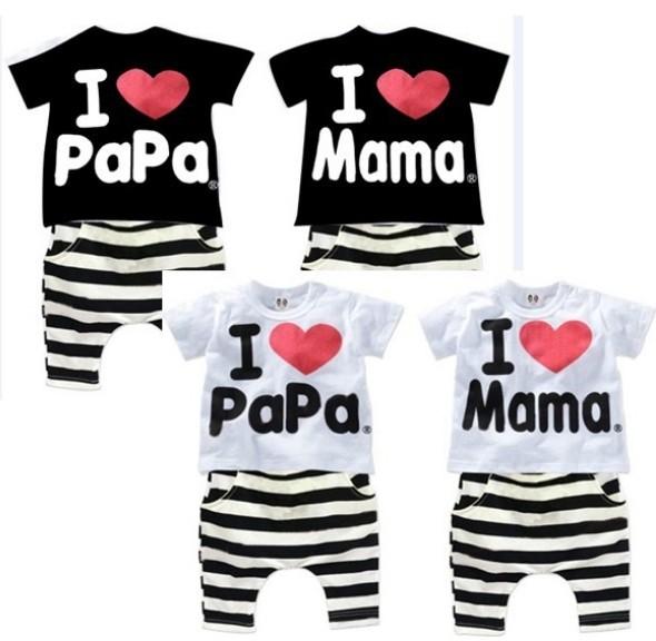 Retail 1set! 2015 Children Clothing Summer Set boys girls I Love Papa and Mama short sleeve t-shirt+pants suit kids pajamas set(China (Mainland))