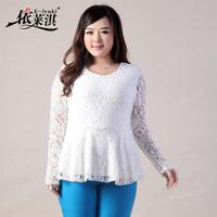2014 Sprring women's plus size slim fit long sleeve lace shirt chiffon lace top blouse shirt blouse L, XL, XXL, XXXL, 4XL