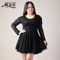 Spring 2014 lace dress plus size XXL XXXL 4XL women's long sleeve floral simple and elegant fashion mellow romantic retro dress