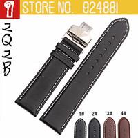 TOP Watchband,Flat Grain Genuine Leather 18 19 20 22mm,Watch Bracelet Strap Belt for Hours,Fold Deployment Buckle,Free Shipping