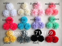 "Hair Accessories 12colors 2"" chiffon shabby ball Flowers clothes hats Accessories 60pcs/lot"