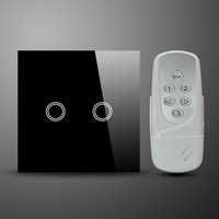 50Hz-60Hz UK EU Style 2 Gang RF Wireless Remote Control Touch Wall Light Switch AC110~240 Volt Smart Home Glass Panel Controller