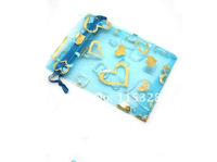 Free Shipping 100pcs/Lot 7x9cm Light Blue Retail Jewelry Velvet Gift Packaging Bags & Pouches