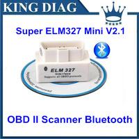 SUPER MINI ELM327 Bluetooth OBD2 V2.1 White Smart Car Diagnostic Interface ELM 327 Wireless Scan Tool
