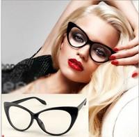 European Retro glasses for women fashion cat eye style plain mirror glasses girls brand sunglasses YJ5020