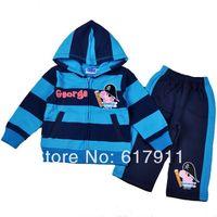 Wholesale New Peppa Pig Baby Boys Clothing sets kids sets children's set 2pcs Striped long Sleeve Fleece hoody sweatshirts+pants