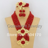 Splendid African Jewelry Sets 18K African Crystal Beads Jewelry Set for Wedding Statement Necklace Jewelry 2015 GS038