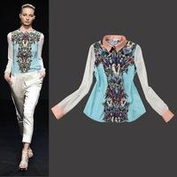 Star Models 2014 New fall Transformers robot printing shirt female long-sleeved shirt slim-type chiffon cardigan clothing