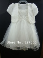Retails!girls clothing set girls  flower wedding dress set ,braces dress and short coat ,princess dress,Party dress suit  803-1