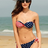 Newest Summer Fashion Sexy Women Bikini Swimwear American Flag Design Bikini Set Real Class Swimsuit 40483