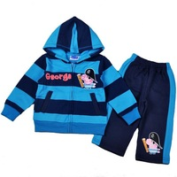 Children/kids/Baby boys Peppa Pig clothing set/tracksuit with the dark blue and blue stripe hoody coat+pants 5sets/lot-WYX-AA-47