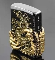 Wholesale 3 pcs /lot copy Replica   High simulation Kerosene windproof lighter  Black double-sided Carving Dragon Wing