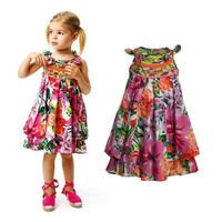 2014 Fashion Floral Girls Dresses Children Cotton Dress Brand European American Girl Dress 3-10Y Kids Clothing Girls Clothes