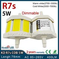 5W Dimmable LED R7s 78mm COB AC 110V 220V 230V warm/cold white floodlight LED flood light replace 50W halogen