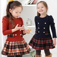 2014 New School Girl Dress Scottish Double Breasted Girl Plaid Dresses Pleated Vestidos Infantil Manga Long Sleeve Autumn Spring