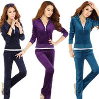 2014 spring women sportswear velvet clothing set fashion long sleeve casual sports suit ladies elegant tracksuit twinset suit
