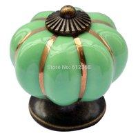Free Shipping 10pcs 40mm Ceramic Pumpkin Shape Door Drawer Dresser Pull Knob Cabinet Cupboard Handle-Green