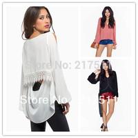 Free Shipping New Arrive Women Chiffon Shirts Floral Lace Hem Long Sleeve Dovetail Back Plus Size Red/Black/White Blouse SXF08