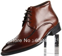 New men's boots genuine leather pointed toe lace up business casual boots shoes winter shoes wholesale retail Free Shipping
