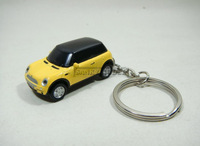 1:87 HIGH SPEED MINI COO PER Yellow Car Model Keychain Key Chain Bright Headlights Free Shipping
