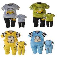 2014 new Baby Boy's Clothing Sets fashion korean Boys t-shirt+pant 2pcs suit for autumn 2color cotton baby boys clothing