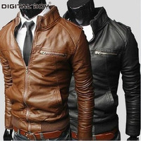2014 Hot Sale !  Fashion Short Men Leather jackets  coat , PU, Slim style, stand-up collar, Size M L XL,XXL Free Shipping