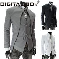 New Brand fashion 2014 blazer men,Black/ White/Gray slim casual  Asymmetrical men Suit /coat Drop shipping