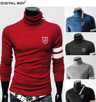 2014  New Brand Famous T shirt/T-Shirt Men,Cotton long sleeves Highneck  thicker Casual Autumn/Winer tshirt men Drop shipping
