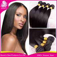 Queen hair products Peruvian hair bundles 4pcs/lot, Straight peruvian hair,grade 4A human hair weaves extension factory price