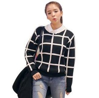 Women's Spring Europe Style Brief Black and White Square Grid Loose Pullover Sweater Outerwear