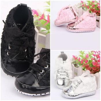 Мода детские новорожденных девочек шику ног розы обувь на резиновой подошве обувь ...
