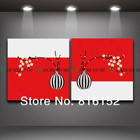 2 Pieces Modern Wall Painting Vase with Flower oil painting home decor painting photo for living room Free Shipping