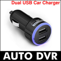 10Pcs/lot Beautiful color ring double 2A DUAL USB CAR DC MINI CHARGER FOR galaxy note IPOD IPHONE 5 MP3 MP4.Free shipping
