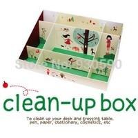 Hot selling Korea stationery DIY Table pen holder Cute Paper Cosmetic Sundries desktop storage Clean-UP box