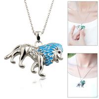 Statement Necklace 2014 Silver Chain Long Gold Necklace Lion King Enamel Crystal  Necklaces & Pendants Wholesale jewellery