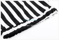 2014 Newest Arrival Fashion Womens Long Skirts Black White Irregular Stripes Maxi Skirt Plus Size 20139