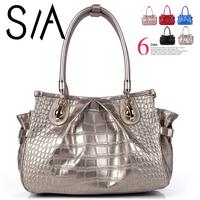 2014 fashion cowhide women handbag genuine leather Brand spring women's messenger bags Crocodile Pattern Handbags shoulder bag