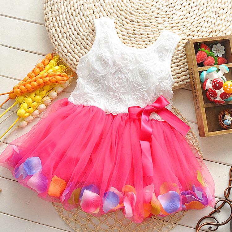 Free shipping! 2014 summer girls dress girls rose petal hem dress color cute frozen dress girls baby dress 2-5 years(China (Mainland))