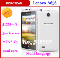 Original Lenovo A656 5'' IPS 2000mAh Battery smart phone Quad core MTK6589 1.2GHz 4G ROM  2G GPS Multi language smartphone