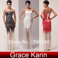Free Shipping GK Fashion Black/Red/Ivory Lace Applique Wedding Gown Bandage Long Mermaid Prom Party Evening Dress 2014 CL6043