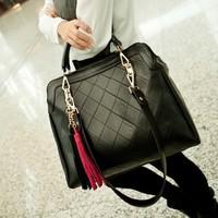 Women Messenger Bags Women PU Leather Handbags Plaid Bags Fashion Shoulder Bags Casual Vintage Tassel Bag Cross Body Handbag