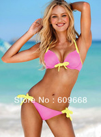 promotion 9 colors sexy women's swimwear solid bikini set halter padded bra and thong swimsuit beachwear free shipping 3007